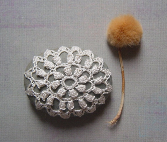 Crocheted Lace Stone, Small with Tiny Stitches, Gray Stone