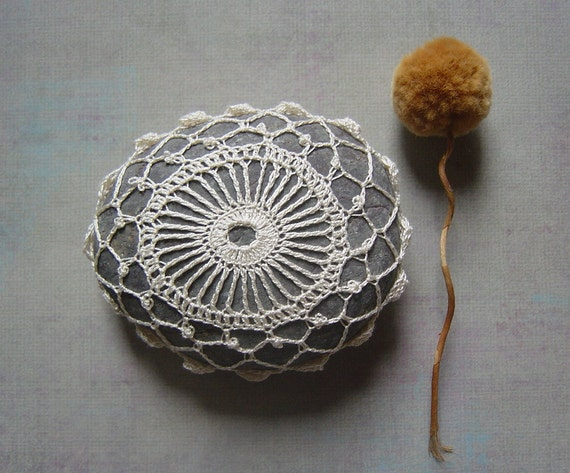 RESERVED  Crocheted Lace Stone, with Tiny Stitches, Beige Thread with Gray Stone, Handmade