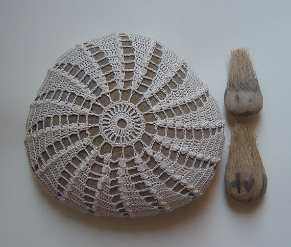 Crocheted Lace Stone, Pinwheel Design, Beige Thread with Light Brown Stone, Handmade