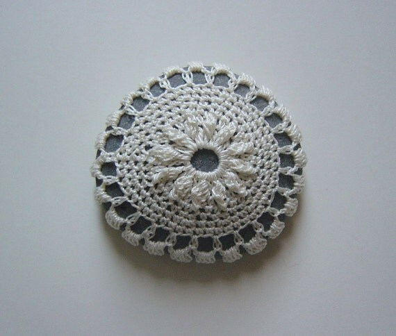 Crocheted Lace Stone, with Tiny Stitches, Beige Thread, Gray Stone, Small, Handmade