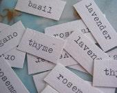 HERB GARDEN 25 cooking ephemera scrapbooking paper words typed supplies crafting ooak