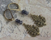 Genevieve Earrings -- iolite, vintage brass, 14kt gold filled