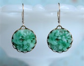 Siri Earrings - vintage jade green glass floral kimono stones, gold filled