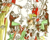 Dame Darcy Christmas Yule Pagan Hand Painted Art Print