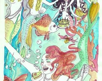 Dame Darcy Mermaid Nautical Hand Painted Print