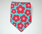 Boy's Necktie Aqua Blue and Red Blossoms Child's Tie