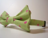 Bowtie for Little Boys Lime and Pink Dots