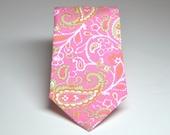 Men's Necktie Pink and Green Paisley Child's Tie