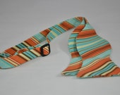 Freestyle Bowtie for Men Retro Orange Stripe