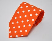Orange Necktie - Polka Dot Tie for Men or Boys