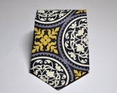 Necktie - Gray and Yellow Scroll Damask - Mens or Boys Tie