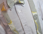 Boys Suspenders and Bowtie Set Grey Graphic Blossom