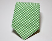 Green Necktie for Boys or Men - Green Gingham Tie Lot of Colors Available