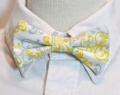 Boys Bow Tie White Gray and Yellow Damask