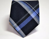 Men's Tie -  Wool Plaid Necktie - Black and Blue Men's Necktie