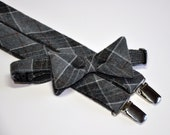 Gray Wool Plaid Suspenders and Bowtie Set