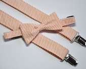 Bowtie and Suspenders in Coral Seersucker Stripes for Babies Toddlers Boys