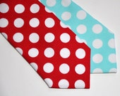Polka Dot Neckties Set of Aqua Blue and Red Ties for Men Boys Toddlers or Baby
