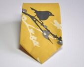 Boy's Necktie , Teen , Baby , Toddler , Bird Necktie , Yellow and Grey Tie