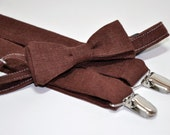 Brown Linen Bowtie and Suspenders, Boy's Bow Tie, Baby Bowtie, Brown Bowtie