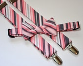 Pink and Gray Stripe Men's Bowtie and Suspenders