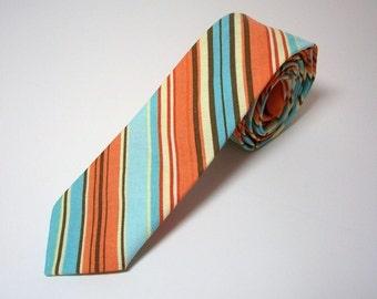 Skinny Necktie Retro Orange Stripe