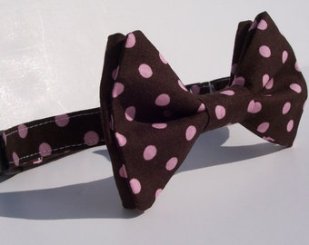 Bow Tie for Little Boys Chocolate Pink Polka Dots