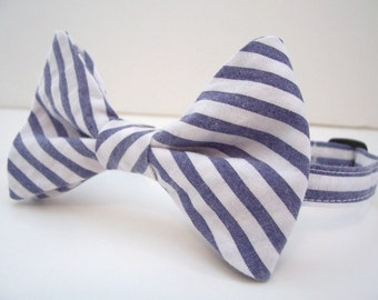 Bowtie For Little Boys Denim Blue Seersucker Stripe