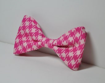 Boy's Bowtie Hot Pink Houndstooth Boys Tie