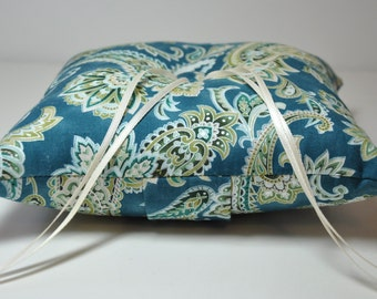 Ringbearer Pillow Simply Modern Ring Pillow Teal Paisley