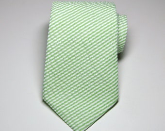 Seersucker Necktie Me and Matilda Everyday Mens Necktie Boys Necktie Lime Green Stripes