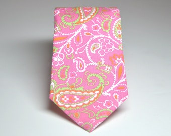 Men's Necktie Pink and Green Paisley Child's Tie