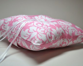 Simply Modern Wedding Ring Pillow Pink and White Damask