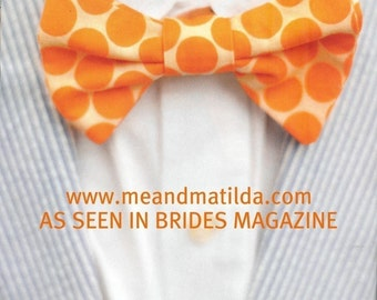 Bow Tie Tangerine Dot Bubblicious Boys Bowtie AS SEEN IN Bride's Magazine