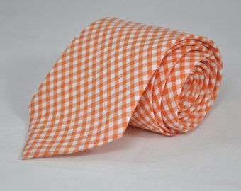 Men's Tie Orange Gingham Boy's or Men's Necktie