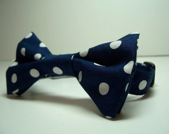 Bow Tie for Little Boys Navy Blue Polka Dots