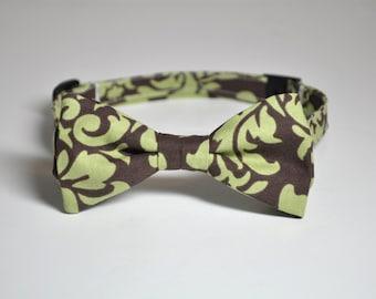 Boys Bow Tie, Boys Bowtie, Bow Ties, Bowties, Ring Bearer Bow Tie, Wedding, Green, Brown, Pistachio, Damask Bow Tie, Ties, Boys Tie, Baby