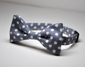Bowtie for Little Boys Gray and White Polka Dots