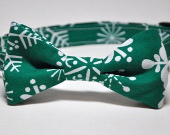 Christmas Bowtie for Little Boys Green Snowflakes Bow Tie