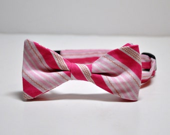 Boy's Bow Tie Hot Pink Stripes Bowtie