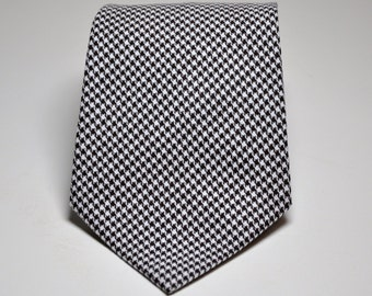 Chocolate Brown Necktie - Houndstooth Tie for Boys or Men