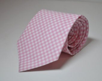 Boys Necktie Pale Pink Gingham Childrens Tie