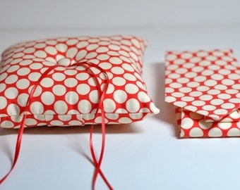 Ring Bearer Pillow and Tie Set - Simply Modern Ringbearer Set - Red and White Polka Dots