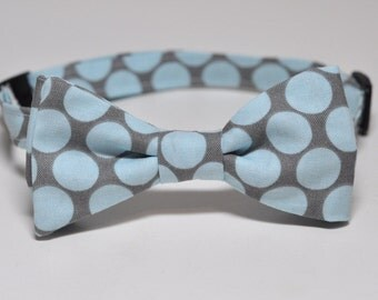 Slate Blue Bow Tie for Little Boys - Grey and Blue Big Dot Bowtie - Other Colors Available