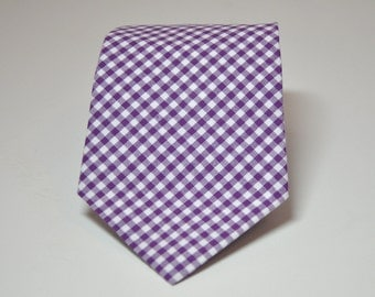 Necktie Me and Matilda Everyday Necktie Purple Gingham