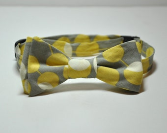 Bowtie for Boys Grey and Yellow Martini Dots