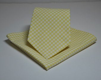 Yellow Gingham Necktie and Pocket Square Set for Men or Boys Skinny Ties also Available