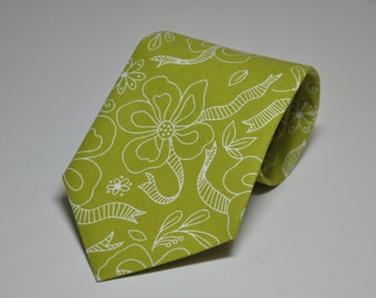 Mens Neckties Chartreuse Green Ribbon Floral