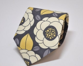 Yellow and Grey Necktie for Men or Boys - Gray and Yellow Floral Tie