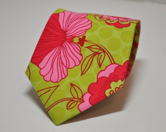 Lime Green and Pink Necktie for Men or Boys - Hot Pink Floral Tie